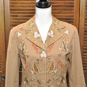 Tan Embroidered Jacket Sz 8
